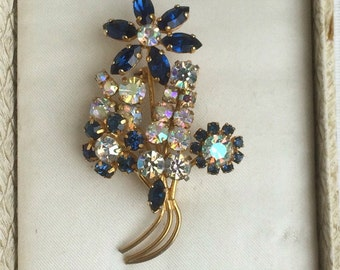 Vintage 1950s Blue and Aurora Borealis Crystal Flower Brooch