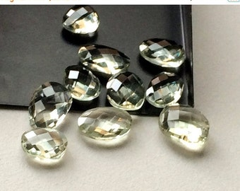 55% ON SALE Green Amethyst Quartz, Green Amethyst Rose Cut, Faceted Rose Cut Gemstones 12mm To 15mm, 10 Pieces