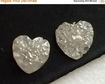 50% VALENTINE SALE Valentine Collection White Grey Rough Diamond, Diamond Heart Matched Pairs, White Grey Diamond Heart, Natural Diamond, 2