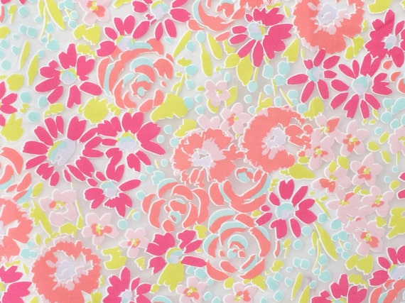Pink blooming flowers sheer curtain fabric by the yard kids for Kids drapery fabric