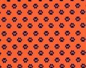 Fabric Finders Mini Navy Paws on Orange