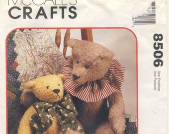 """McCall's Crafts 8506 Teddy Bear in two sizes 22"""" and 15"""" Bear"""