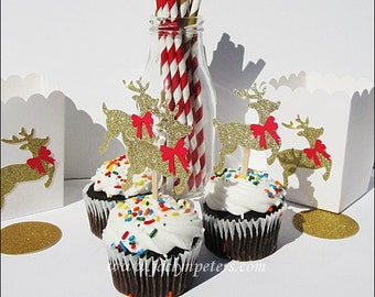 Reindeer Cupcake Toppers, Gold Glitter, Red Bows, Christmas Party, Food Decorations, Donut Picks, Holiday Dessert Table Supply, Set Of 12