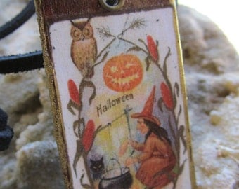 Altered Art Mixed Media Halloween Fall Necklace Z 68