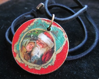 Santa with a child Christmas Necklace Pendant Z 87