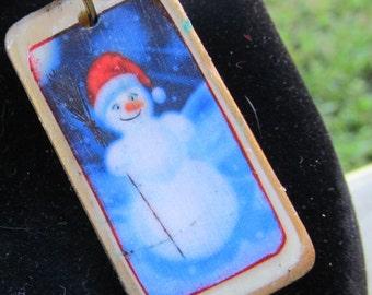 Snowman domino Game tile Necklace Pendant Z 88