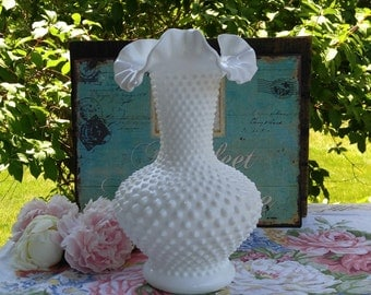 OCTOBER SALE / Fenton Milk Glass Hobnail Vase / Wedding Milk Glass  / Large Milk Glass Vase / Hobnail Milk Glass