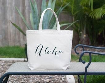 Aloha Hawaiian Wedding Canvas Tote Bag, Aloha Bag, Wedding Welcome Bag, Bridesmaid Bag, Wedding Tote Bag, Wedding Bag, Beach Bag, Beach Tote