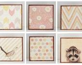 nursery art-  Choose (6) SIX of our Custom Designs 5x5 chevron pink flowers kids decor- redtilestudio