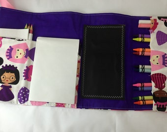Activity Wallet - holds crayons, chalk, pencils and more - Princesses on Purple