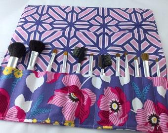 Pink Makeup Brush Roll - Travel Makeup Brush Organizer - MakeUp Brush Holder - Makeup Brush Case- Joel Dewberry Atrium Monarch in Fuschia