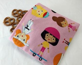 Reusable Snack Bag - Reusable Baggie - Girl Sports Snack Bag - Fabric Snack Bag - Reusable Fabric Snack Bag - Sport Kids Girl Sweet Pink