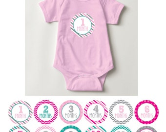 Baby Girl Month Stickers, 1-12, pink, teal, grey, chevron, stripes, dots