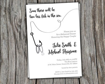 Fishing Invitation, Two Less Fish in the Sea, Nautical, Rehearsal Dinner, Engagement Party , Couples Bridal Shower, Lake