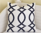 KATE SPADE Maxime in Navy Designer Pillow Cover -  Square, Lumbar and Euro Sizes