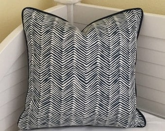 Quadrille China Seas PETITE Zig Zag in Navy Blue on White  Designer Pillow Cover with Navy Piping