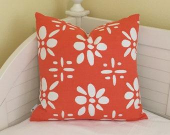 Quadrille China Seas Wildflowers in Orange and White Designer Pillow Cover - Square, Euro and Lumbar Sizes