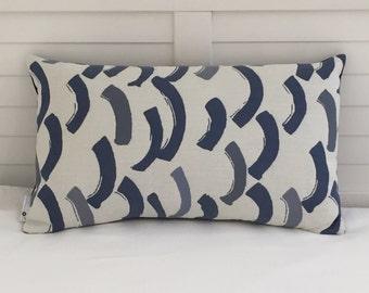 Perennials Swoop in Grotto ( Blues) Indoor Outdoor Lumbar Designer Pillow Cover - SALE