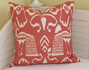 Featured In Coastal Living Magazine -Quadrille China Seas Bali II in New Shrimp on Tint (Ivory) Designer Pillow Cover