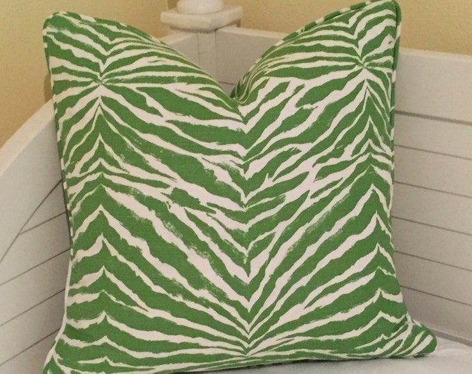 Quadrille China Seas Nairobi in Jungle Green and Tint Designer Pillow Cover with Self Piping - Square, Lumbar and Euro Sizes