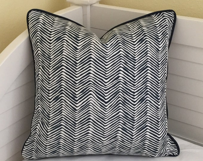 Quadrille China Seas PETITE Zig Zag in Navy on White  Designer Pillow Cover with Piping or Without Piping - Square, Lumbar and Euro