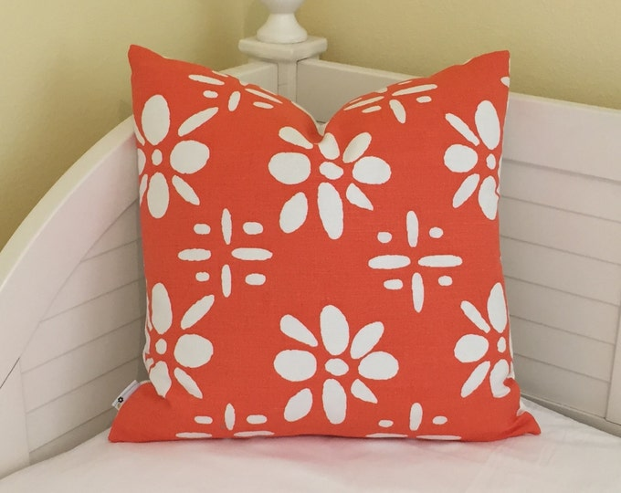 Quadrille China Seas Wildflowers in Orange and White Designer Pillow Cover - Square, Euro and Lumbar Sizes