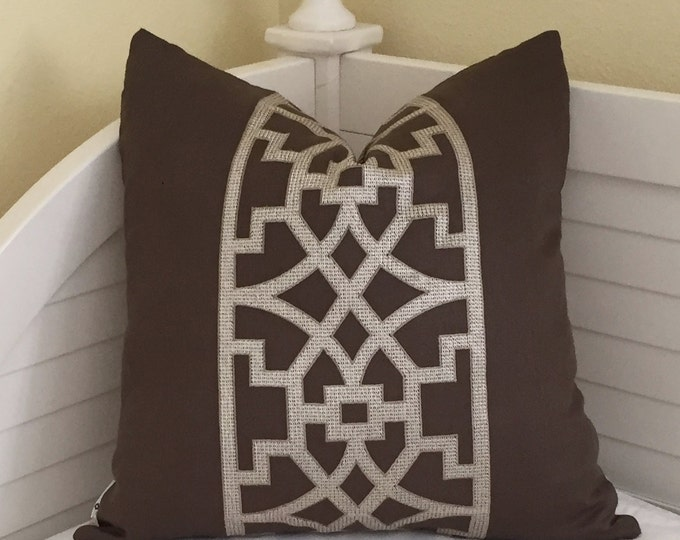 Schumacher Mary McDonald Don't Fret in Bitterwseet Brown Designer Pillow Cover