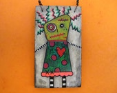Zombie Girl Art, Crazy Creepy Cute, Halloween Decoration, Zombie ornament, Original Mixed Media Art, OOAK, heart, stitches, blood, green