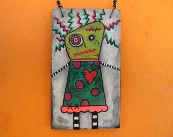 Zombie Girl Art, Crazy Creepy Cute, Halloween Decoration, Zombie ornament, Original Mixed Media Art, OOAK, heart, stitches, blood, green