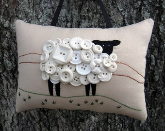 Ireland White Sheep Decoration, Irish Primitive Embroidery, Door Hanger, White Vintage Buttons, St. Patricks Day, Irish Decor, Lamb pillow