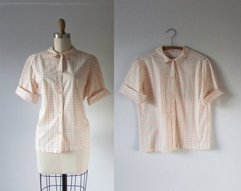 On the Grid / 60s blouse / vintage 1960s blouse