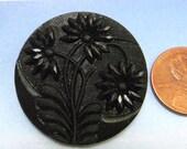Black Antique Button Victorian Button 1 1/4 inch Large Glass Button Floral Button 45