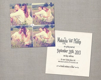"""Unique Save the Dates, 5.25 x 5.25, Save the Date, the """"Makayla 1"""""""