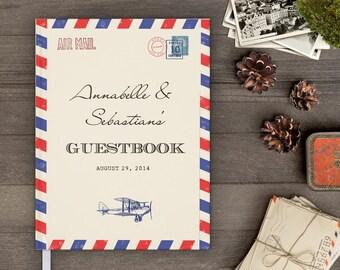 Vintage wedding guest book, Custom, Wedding guest book, Airmail Border gb0027