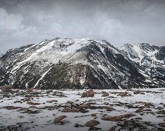 Mountain Peaks with Snow in the Rocky Mountain National Park near Estes Park Colorado No.0901 Fine Art Mountain Landscape Photography