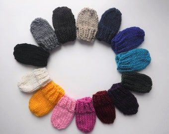 Chunky Knit Baby Mittens With String - Attached Thumbless Mitts Newborn 0 - 6 Months, 6 - 12 + Months