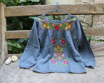 M-L Long Sleeves Bohemian Embroidered Top - Grey 1