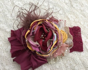 Matilda Plum Pie flower headband cozette couture