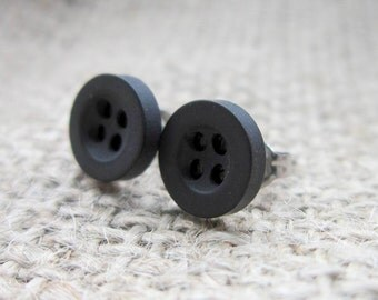 8mm black button stainless steel stud earrings - posts studs