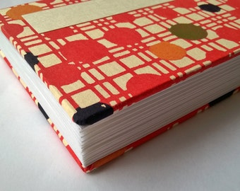 Japanese accordion notebook sketchbook - Katazome red dots