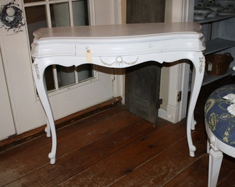Shabby Chic Foyer Table French Provincial Painted White Vanity Hall Console Table Floral Appliques Annie Sloan Narrow Hall Table