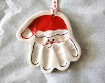 Baby Ornament - Handprint Ornament -  Santa Handprint - First Christmas Ornament - Babys First Christmas - Baby Handprint Santa Ornament