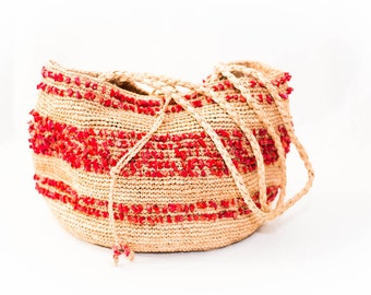 woven straw farmers market bag with red stone embellishments