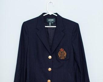 women's Ralph Lauren navy nautical preppy blazer size 10 Petite