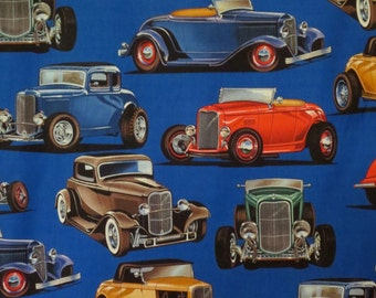 Bold Deuces Vintage Car Print Pure Cotton Fabric--By the Yard