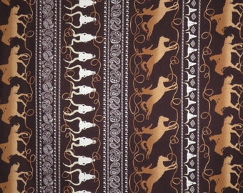 Brown and Beige Lasso Stripe Western Print Pure Cotton Fabric--One Yard