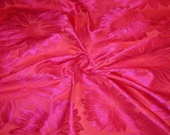 Fuchsia and Magenta Daisy Pattern Imported Silk Blend Taffeta Brocade Fabric--One Yard