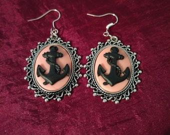 Black & Pink Hello Sailor cabochon earring set