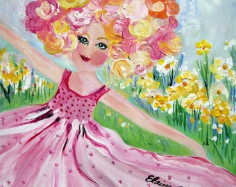 Rosie Original Painting Girl dancing 12 x 12 gift for her Art by Elaine Cory