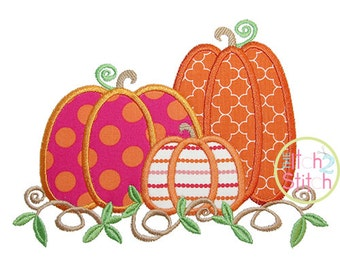 """Pumpkin Trio 2 Applique Design Size(s) 4x4, 5x7, & 6x10, Shown with our """"Curtsy Alphabet"""" font NOT Included, INSTANT DOWNLOAD available"""